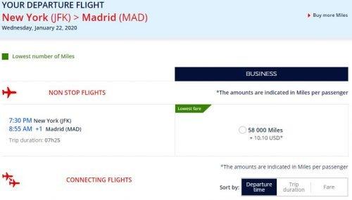 amex flying blue transfer bonus madrid 47,000 Amex points