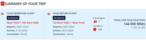 amex flying blue transfer bonus 116.000 Amex points to Israel in Business Class