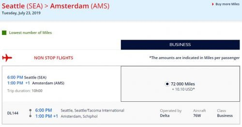 amex flying blue transfer bonus 60,000 Amex points from Seattle to Amsterdam
