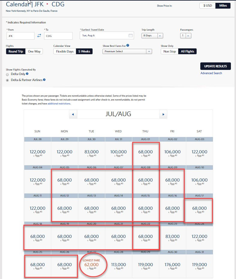 Delta Award Sale Europe in Coach/Premium From 35K and 62K