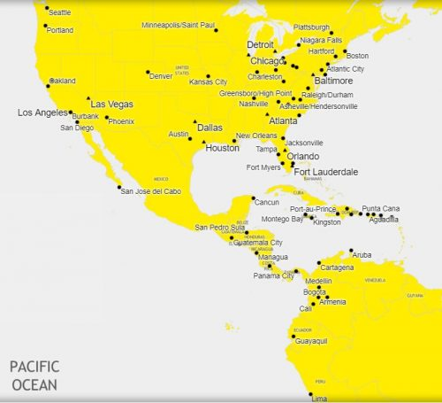Use Spirit miles to fly in the U.S. the Caribbean, Central and South America