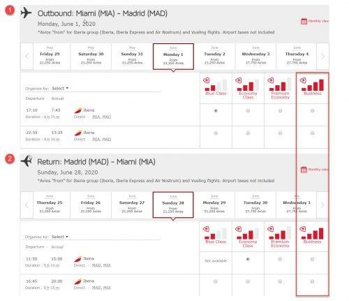 Iberia Business Class: Miami to Madrid