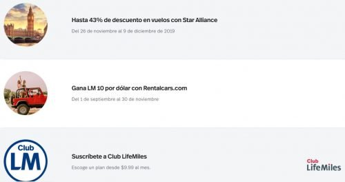 The first offer (Hasta 43% de descuento) is the LifeMiles Award Sale you need