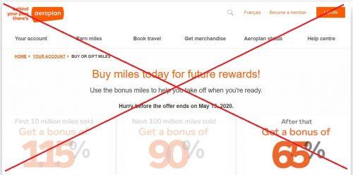 Aeroplan miles sale