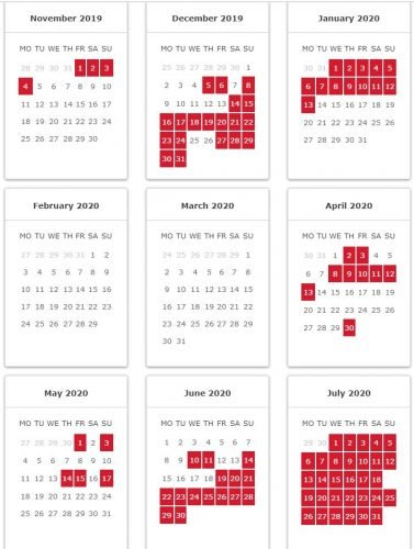 Iberia peak dates: Calendar