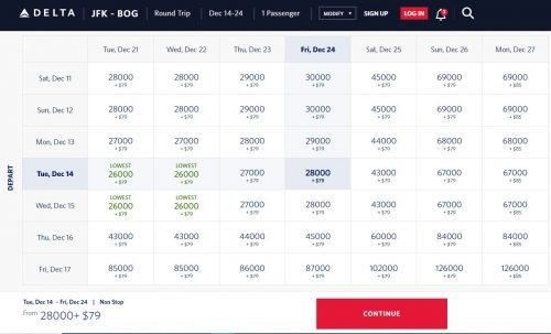 delta business class jfk to bogota Calendar