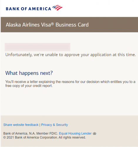 Bank of America Business Credit Cards - Denial for Alaska card