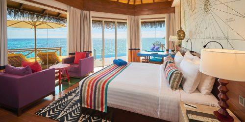 Maldives all inclusive overwater villa: bedroom